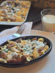 Creamy Steak Tips in Buttery Herb Sauce over Noodles.