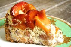 Bourbon-Roasted Peach Cheesecake sweet recip, cheesecakes, peach cheesecake, capitol baker, roasted peaches, bourbonroast peach, bakers, dessert