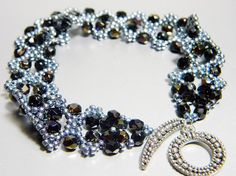 READY TO SHIP Silver Twilight Jet Black Czech Fire Polish Bracelet by WhimsyBeading, $40.00
