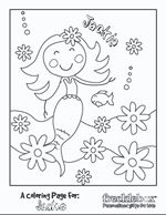 FREE personalized coloring pages via frecklebox.com - cute for favor bags