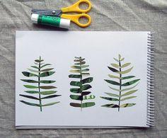 DIY idea Leaf Prints using magazine pages/collage effect