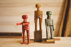 set of three folk art skeletons | handcarved handpainted folk art | made in Guatemala
