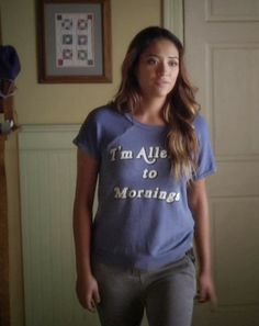 "Emily's Wildfox Tee I'm Allergic to Mornings Lazy Weekend Pretty Little Liars Season 4, Episode 18: ""Hot For Teacher"" - Spotted on TV"