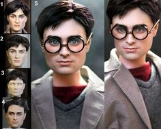 Okay, this is amazing to me. This guy takes dolls, removes the original paint, sometimes curls or cuts the hair and repaints the faces to look SO REALISTIC. Daniel Radcliffe as Harry Potter custom doll by *noeling on deviantART