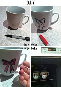 How to personalize a mug. Sharpie + bake it at 350 degrees for 30 minutes.