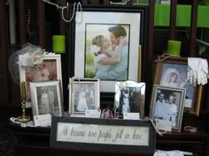 famili, parent, wedding photos, family weddings, heritag tabl, wedding pictures, display pictures on table, dessert, wedding display