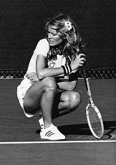 Farrah Fawcett vs. Bill Cosby at the Celebrity Challange Tennis Tournament  #tennis #photography
