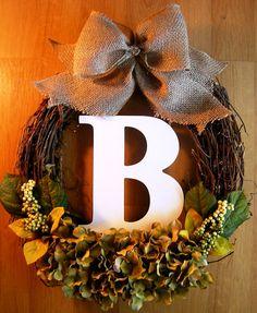Fall Initial Wreath, Monogram Wreath, Fall Decoration, Grapevine Wreath, Initial Wreath, Outdoor Wreath, Wreath for Door, Burlap Wreath