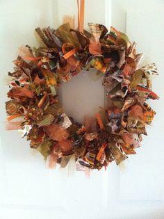 Fall Rag Wreath Autumn Rag Wreath Fall by RagWreathsbyMissVal, $30.00