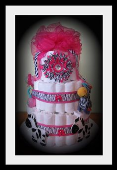 Zebra Print Baby Girl Diaper Cake-Perfect For Safari Themed Showers. Discount Available. $75.00, via Etsy.