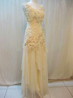 Vintage lace and chiffon wedding dress Romantic lace wedding dress Bohemian wedding dress. $249.00, via Etsy.