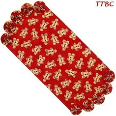 22 in. Red Grandma's Gingerbread Cookies Christmas Fabric YoYo Candle Mat Table Runner ... Ebay Item 251176011816 ... $12.99