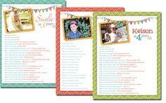 Birthday questionnaire printables