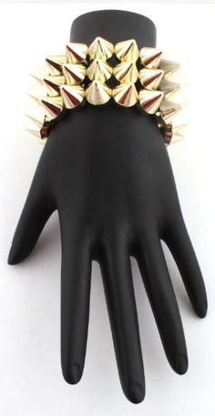 Gold 3 Row Spike Style Adjustable Bracelet Shamballah (bestseller)