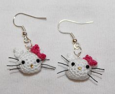 Hello Kitty EARRINGS - Cute Dangle Micro Crochet Earrings - $19.99, via Etsy.