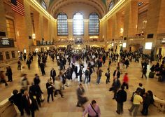 New York's Grand Central Station at rush hour—a scene that has been likened to the seemingly-never-ending stream of 'pedestrians' moving horizontally in 'Glass Pieces', who remain oblivious to the dancers in their midst.