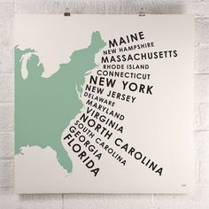 East Coast States Print Green  by David Klinker