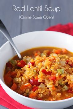 Red Lentil Soup:     2 Tbsp. olive oil      1 cup chopped white onion      1/2 cup chopped celery      1/2 cup chopped carrots      1/2 cup diced roasted red pepper      3 cloves garlic, chopped      3 cups vegetable broth      1 cup red lentils      1 tsp. smoked paprika