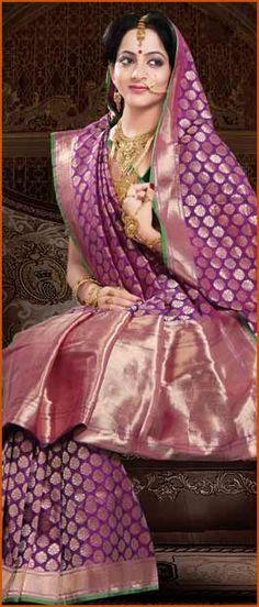 #Purple Pure #Banarasi #Silk #Saree with #Blouse @ $252.71 | Shop Here: http://www.utsavfashion.com/store/sarees-large.aspx?icode=snn32e