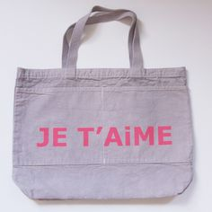 je t'aime tote with pockets at darling clementine