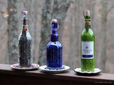 Wine bottle bird feeders