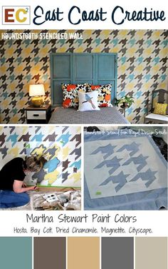 How to stencil an awesome feature wall with a multi-color Houndstooth stencil pattern. So sharp! @East Coast Creative (RHBC)