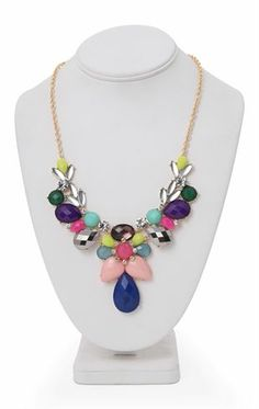 Deb Shops Short #Statement #Necklace with Multicolored Mixed Teardrop Stones $5.00