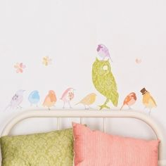 Wall Decal Birds (Reusable and removable fabric wall sticker, not vinyl) - Girly Twitters