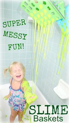 Who didn't want to be on Double dare a a kid?  I know I did!  These OOZING SLIME Baskets are a super fun way to get messy.   Go, ahead, it's ok,  get SLIMED!