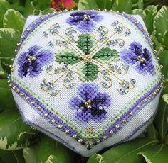 Cute violets biscornu.