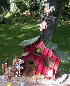 extra large leaning barnbirdhouse with cow by adventureoriginals