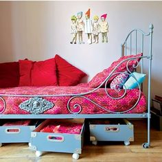 Under bed storage for the girls rooms.