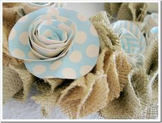 Burlap Pillow with velvet and floral ruffle