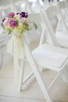 Rose and Hydrangea Wedding Ceremony Aisle Chair Decor rose, hydrangea wedding decor, aisl chair, felt flowers, chair decorations