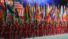 United nations: Flagbearers take part in the athletes' march during the closing ceremony