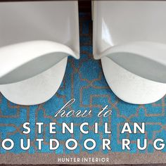 How to stencil an outdoor rug-beautifully done  by @Kristin Jackson {the Hunted Interior} with our Moroccan Key stencil