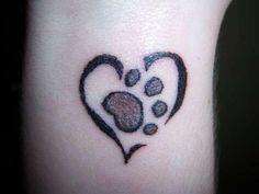 A paw print tat in memory of my lil Max... Heart Paw Tattoo Designs for Girls