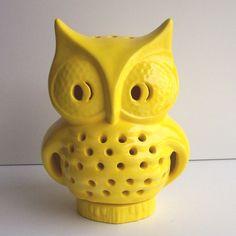 Ceramic Owl Lantern Vintage Design in Lemon by fruitflypie on Etsy, $49.99