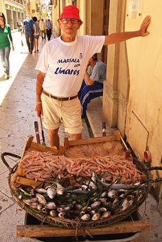 Selling fish in Marsala, Sicily