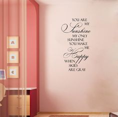 You Are My Sunshine 2 Customizable Wall Decal. $11.99, via Etsy.