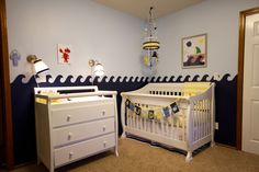 Navy, Sky Blue and Yellow Nautical Nursery #nursery #baby #decor #nautical