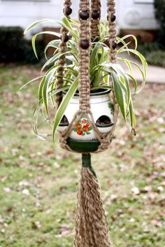 want to make these again...like I did in HS :)  Cocoa- Handmade Natural Jute Macrame Plant Hanger- Hanging Basket