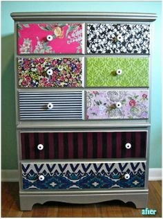 DIY...Taylors dresser.  I think all the same fabric though