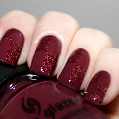 Cerise base with matching glitter overlay in checkerboard pattern.     |  26 Glamorous Nail Art Designs