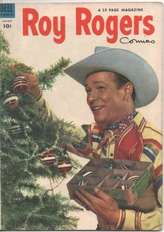 Roy Rogers decorates the Christmas tree, vintage Christmas