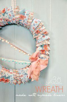 How to make a wreath using cupcake liners. Easy tutorial @Matt Valk Chuah 36th Avenue .com #wreath #diy