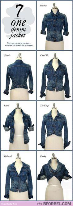 7 Ways To Wear 1 Denim Jacket. So Cool. Found on bforbel.com