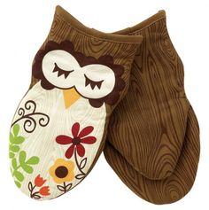 Sleepy Owl Oven Mitts