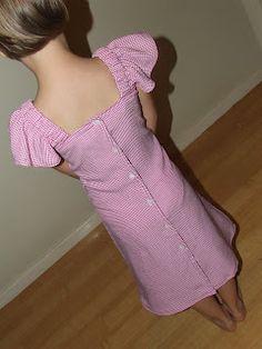 Refashioning adult shirts into girls' dresses