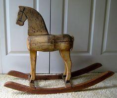 Antique Primitive German Rocking Horse Old Paint Handmade Original Condition